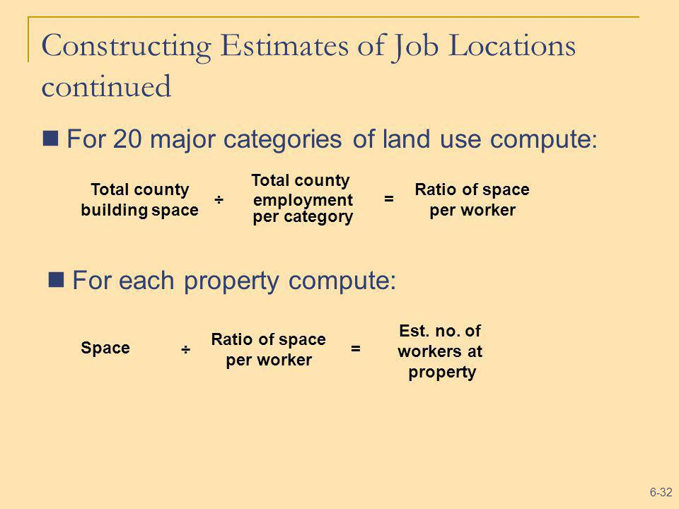 6-32 Constructing Estimates of Job Locations continued For 20 major categories of land use compute : Total county employment per category Total county