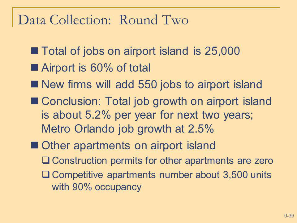 6-36 Data Collection: Round Two Total of jobs on airport island is 25,000 Airport is 60% of total New firms will add 550 jobs to airport island Conclu