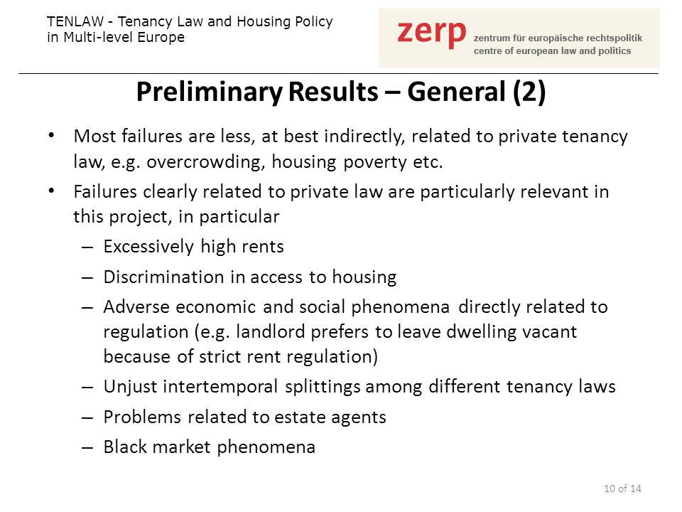 Preliminary Results – General (2) Most failures are less, at best indirectly, related to private tenancy law, e.g. overcrowding, housing poverty etc.