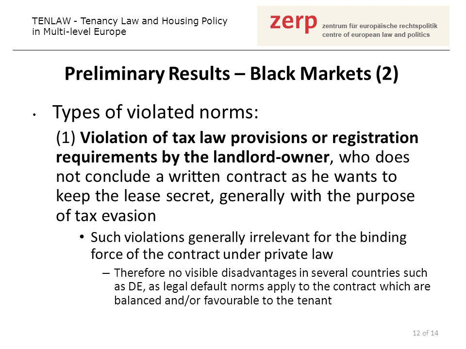 Preliminary Results – Black Markets (2) Types of violated norms: (1) Violation of tax law provisions or registration requirements by the landlord-owne