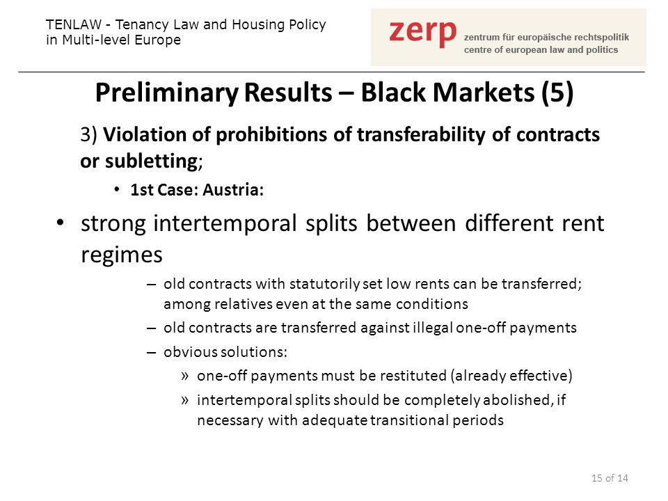 Preliminary Results – Black Markets (5) 3) Violation of prohibitions of transferability of contracts or subletting; 1st Case: Austria: strong intertemporal splits between different rent regimes – old contracts with statutorily set low rents can be transferred; among relatives even at the same conditions – old contracts are transferred against illegal one-off payments – obvious solutions: » one-off payments must be restituted (already effective) » intertemporal splits should be completely abolished, if necessary with adequate transitional periods TENLAW - Tenancy Law and Housing Policy in Multi-level Europe 15 of 14