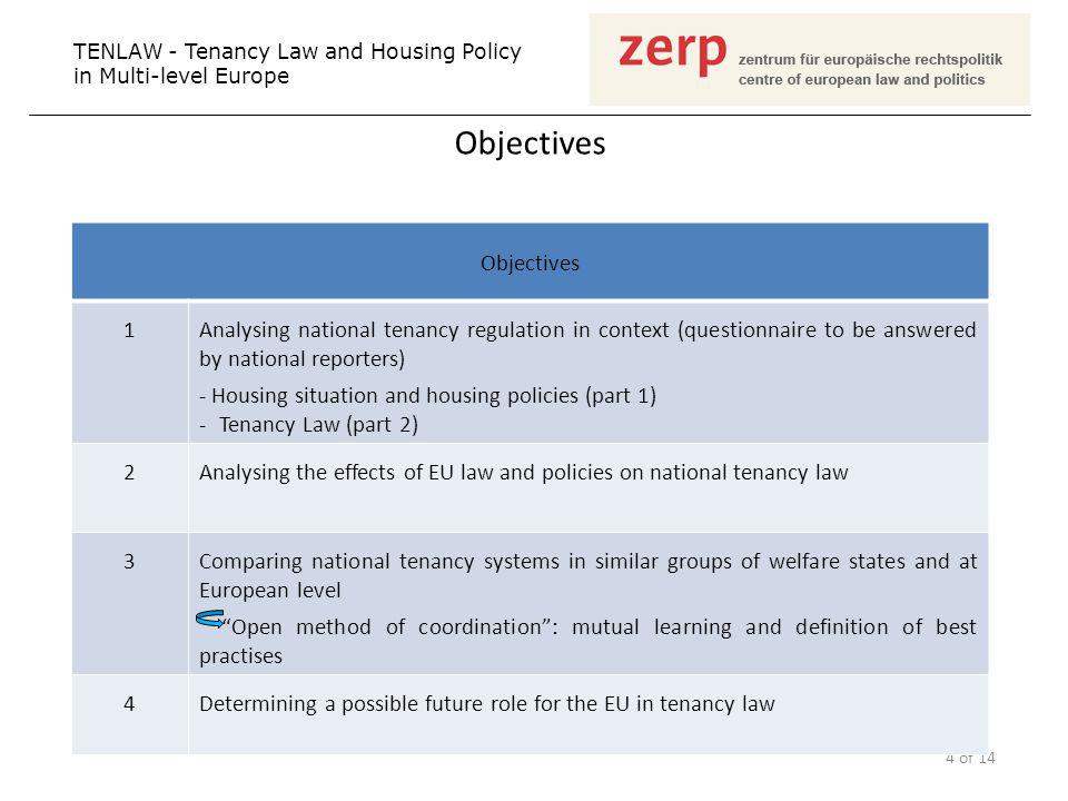 Objectives TENLAW - Tenancy Law and Housing Policy in Multi-level Europe 4 of 14 Objectives 1Analysing national tenancy regulation in context (questionnaire to be answered by national reporters) - Housing situation and housing policies (part 1) -Tenancy Law (part 2) 2Analysing the effects of EU law and policies on national tenancy law 3Comparing national tenancy systems in similar groups of welfare states and at European level Open method of coordination: mutual learning and definition of best practises 4Determining a possible future role for the EU in tenancy law