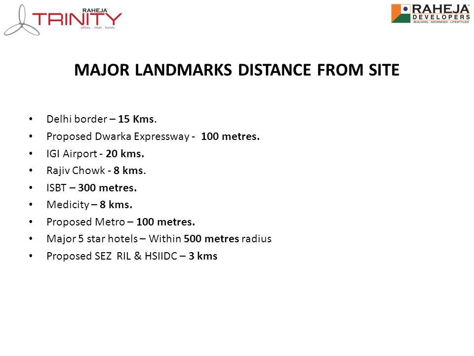 MAJOR LANDMARKS DISTANCE FROM SITE Delhi border – 15 Kms. Proposed Dwarka Expressway - 100 metres. IGI Airport - 20 kms. Rajiv Chowk - 8 kms. ISBT – 3