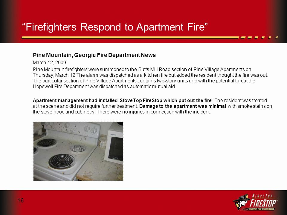 16 Firefighters Respond to Apartment Fire Pine Mountain, Georgia Fire Department News March 12, 2009 Pine Mountain firefighters were summoned to the Butts Mill Road section of Pine Village Apartments on Thursday, March 12.The alarm was dispatched as a kitchen fire but added the resident thought the fire was out.
