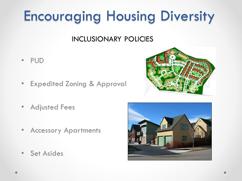 Zoning Variances Adjusted Lot Sizes Accessory Apartments Set Asides Encouraging Housing Diversity PUD Expedited Zoning & Approval Adjusted Fees Accessory Apartments Set Asides INCLUSIONARY POLICIES
