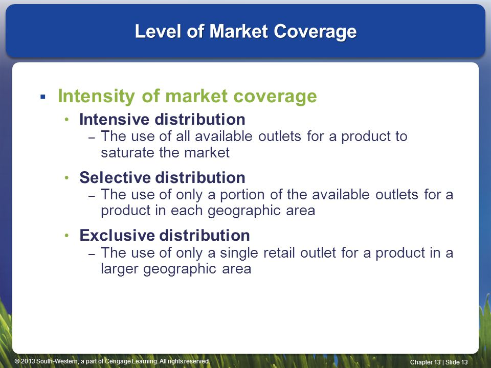 © 2013 South-Western, a part of Cengage Learning. All rights reserved. Chapter 13 | Slide 13 Level of Market Coverage Intensity of market coverage Int