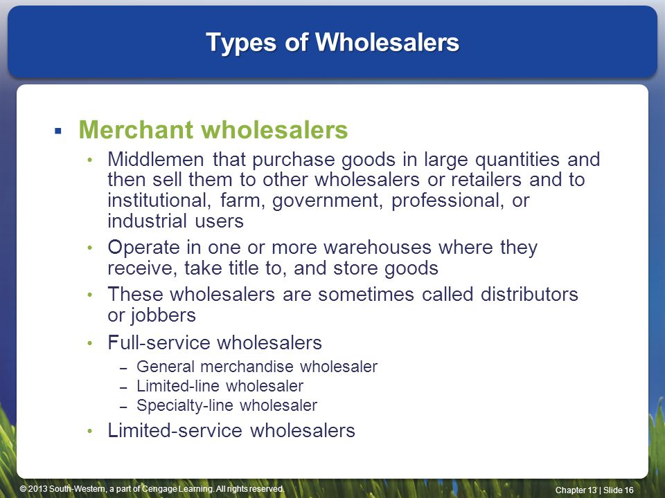© 2013 South-Western, a part of Cengage Learning. All rights reserved. Chapter 13 | Slide 16 Types of Wholesalers Merchant wholesalers Middlemen that