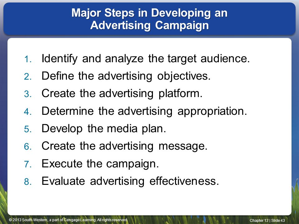© 2013 South-Western, a part of Cengage Learning. All rights reserved. Chapter 13 | Slide 43 Major Steps in Developing an Advertising Campaign 1. Iden