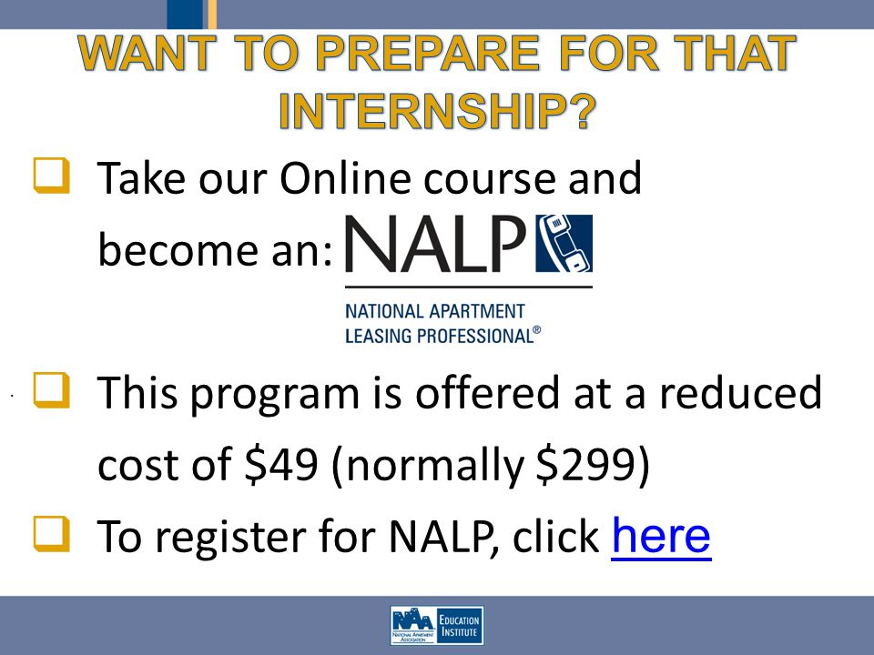 Take our Online course and become an: This program is offered at a reduced cost of $49 (normally $299) To register for NALP, click here here.