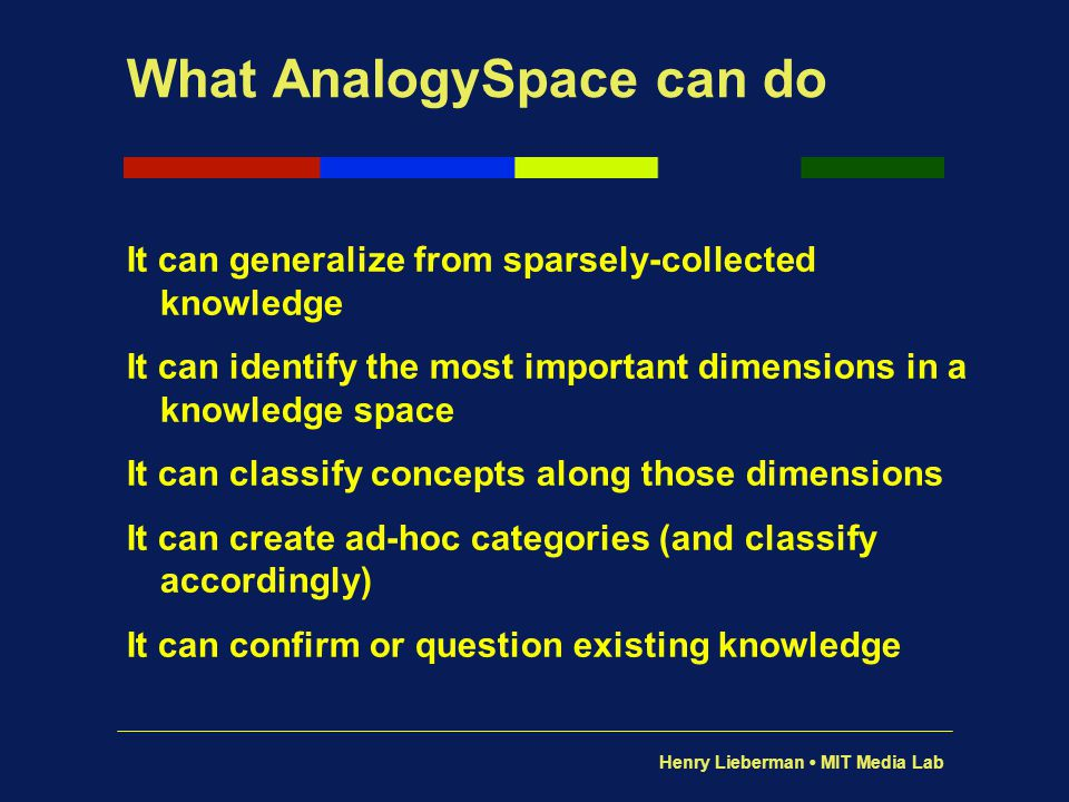 Henry Lieberman MIT Media Lab What AnalogySpace can do It can generalize from sparsely-collected knowledge It can identify the most important dimensio