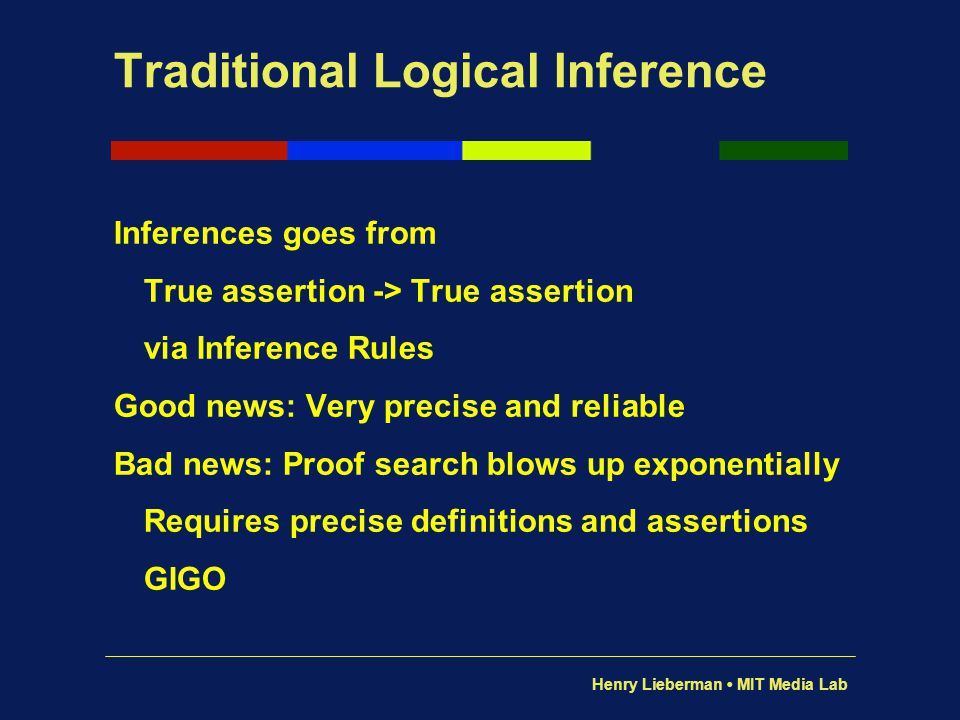 Henry Lieberman MIT Media Lab Traditional Logical Inference Inferences goes from True assertion -> True assertion via Inference Rules Good news: Very
