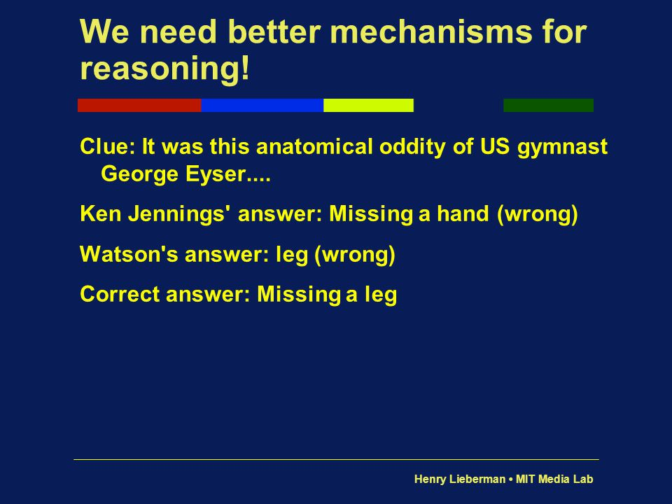 Henry Lieberman MIT Media Lab We need better mechanisms for reasoning! Clue: It was this anatomical oddity of US gymnast George Eyser.... Ken Jennings