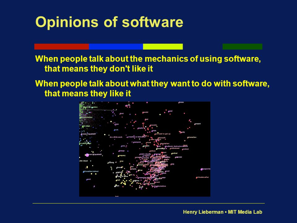 Henry Lieberman MIT Media Lab Opinions of software When people talk about the mechanics of using software, that means they don't like it When people t