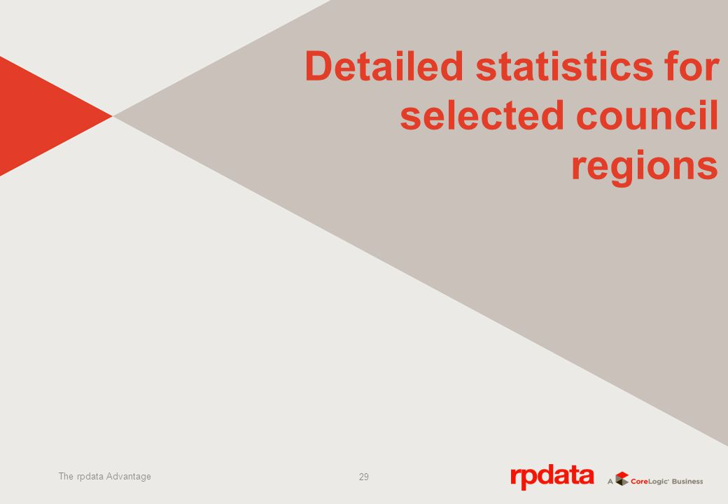 29 Detailed statistics for selected council regions The rpdata Advantage