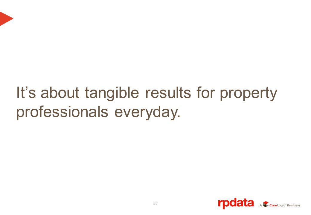 38 Its about tangible results for property professionals everyday.
