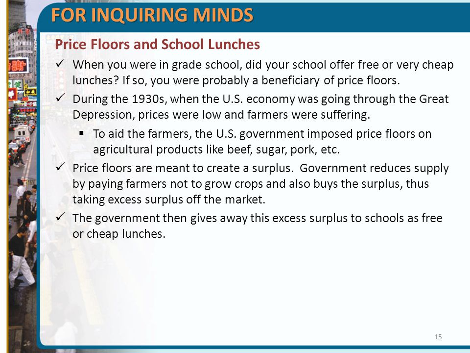 FOR INQUIRING MINDS Price Floors and School Lunches When you were in grade school, did your school offer free or very cheap lunches? If so, you were p