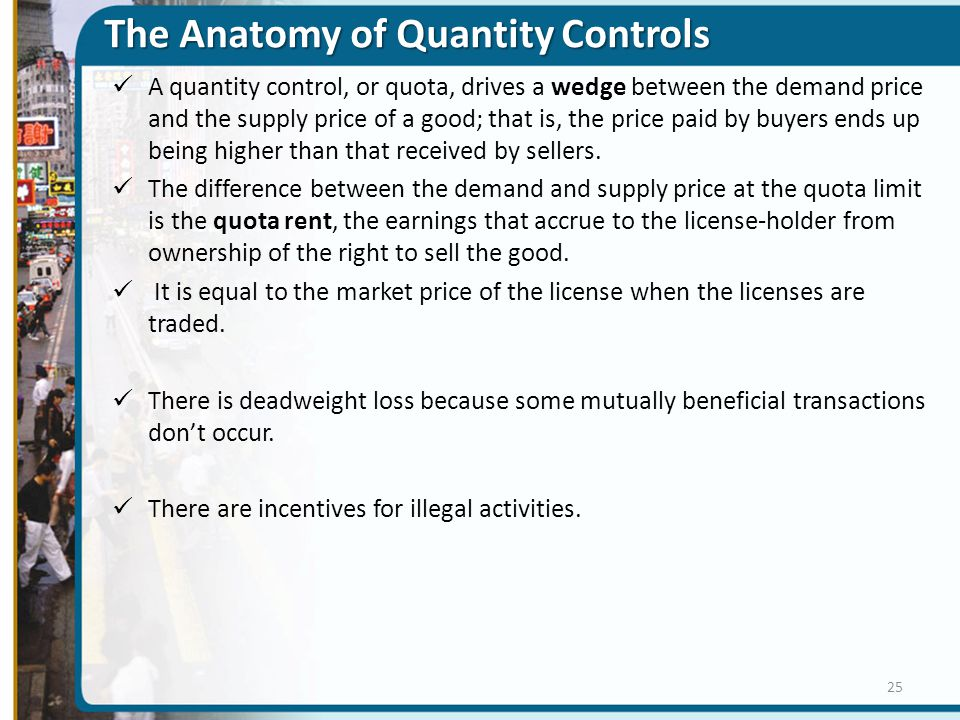 The Anatomy of Quantity Controls A quantity control, or quota, drives a wedge between the demand price and the supply price of a good; that is, the pr