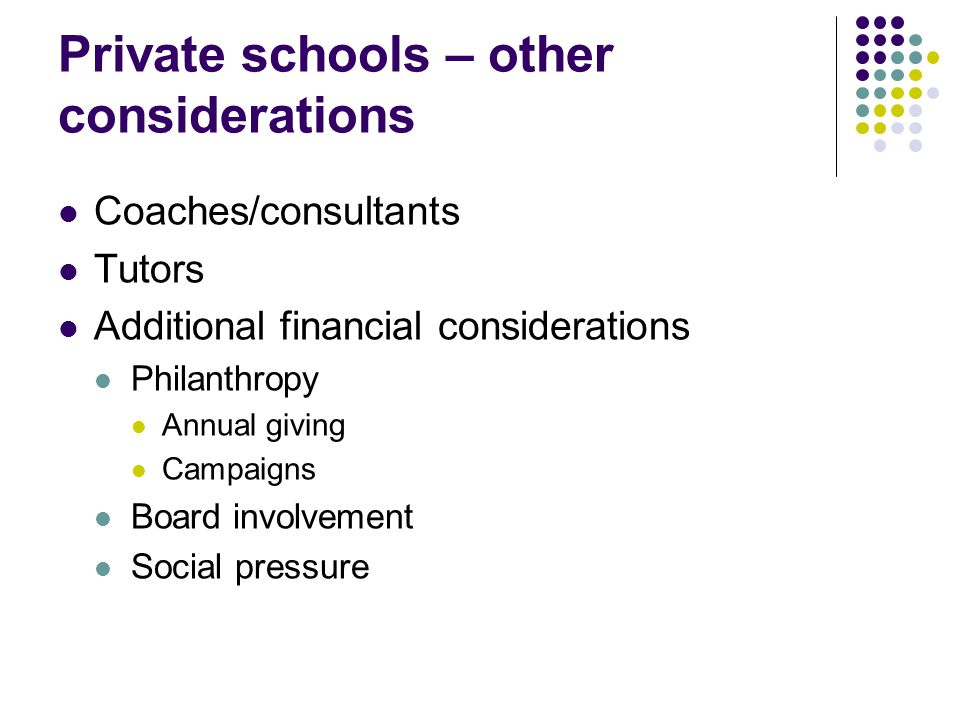 Private schools – other considerations Coaches/consultants Tutors Additional financial considerations Philanthropy Annual giving Campaigns Board involvement Social pressure