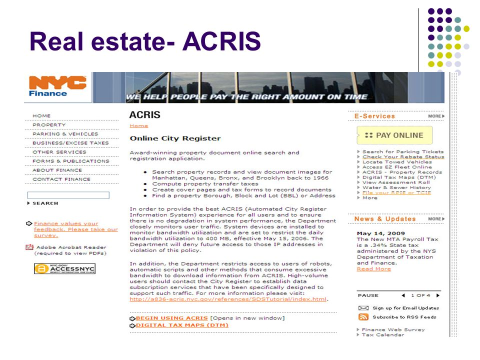 Real estate- ACRIS