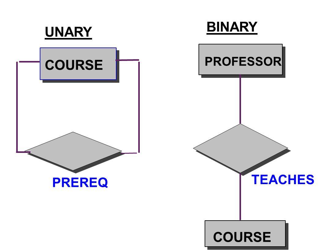 COURSE PREREQ PROFESSOR TEACHES COURSE UNARY BINARY