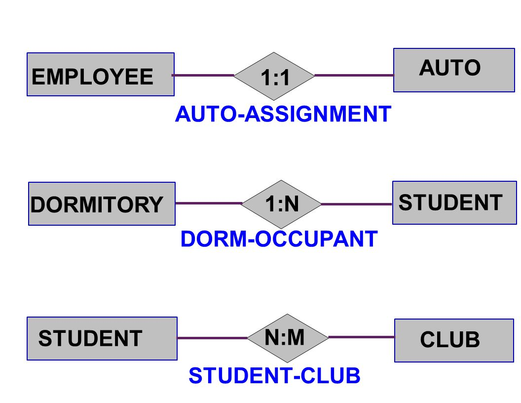 EMPLOYEE AUTO DORMITORY STUDENT CLUB 1:1 1:N N:M AUTO-ASSIGNMENT DORM-OCCUPANT STUDENT-CLUB