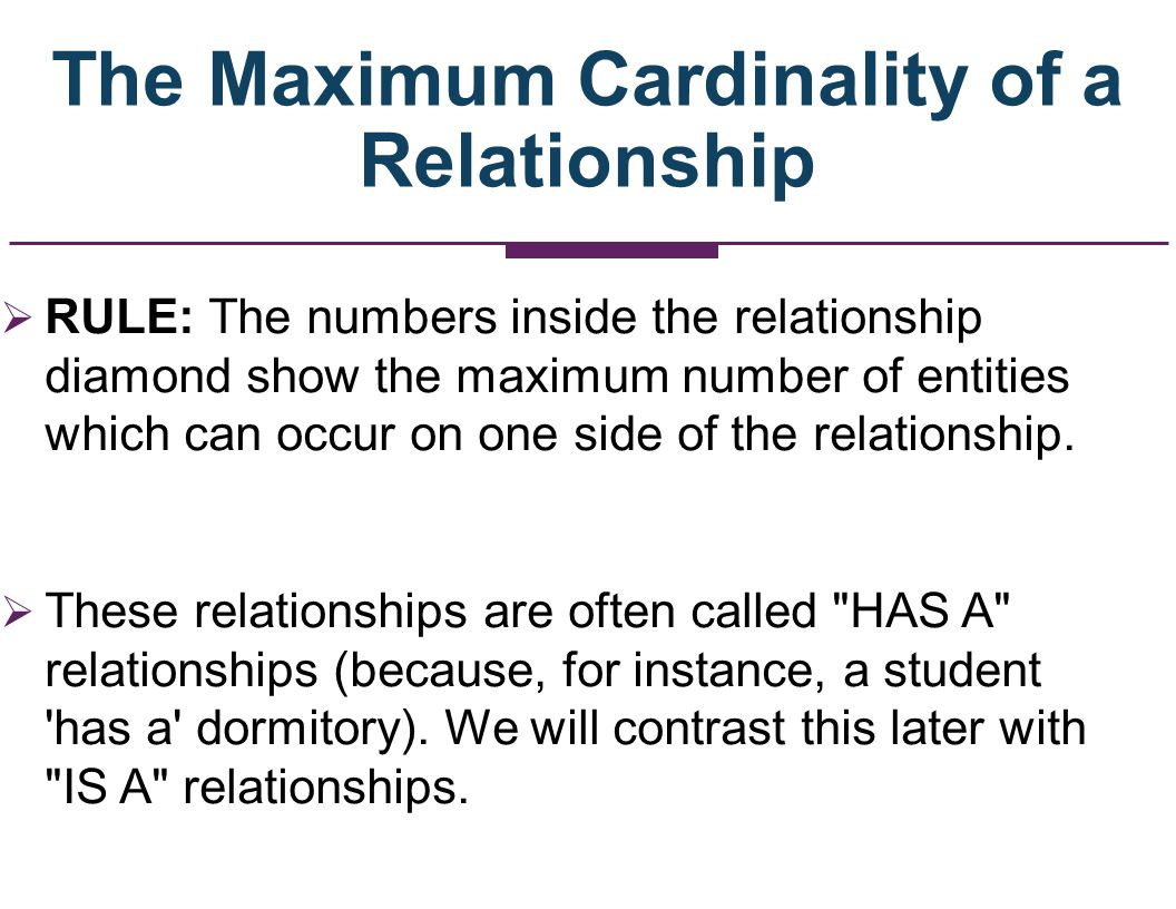 The Maximum Cardinality of a Relationship RULE: The numbers inside the relationship diamond show the maximum number of entities which can occur on one
