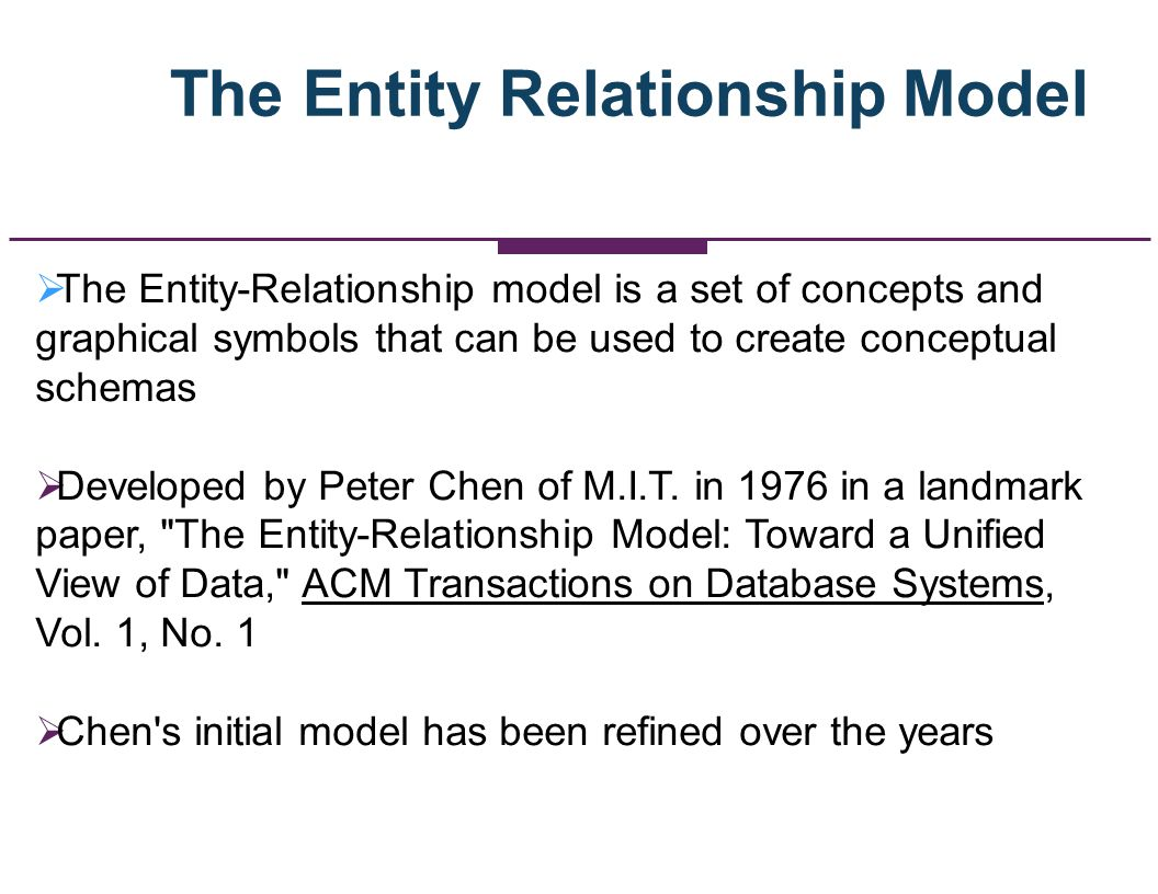 The Entity Relationship Model The Entity-Relationship model is a set of concepts and graphical symbols that can be used to create conceptual schemas D
