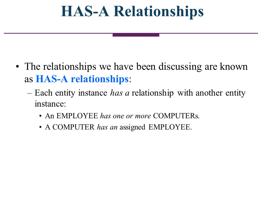 HAS-A Relationships The relationships we have been discussing are known as HAS-A relationships: –Each entity instance has a relationship with another
