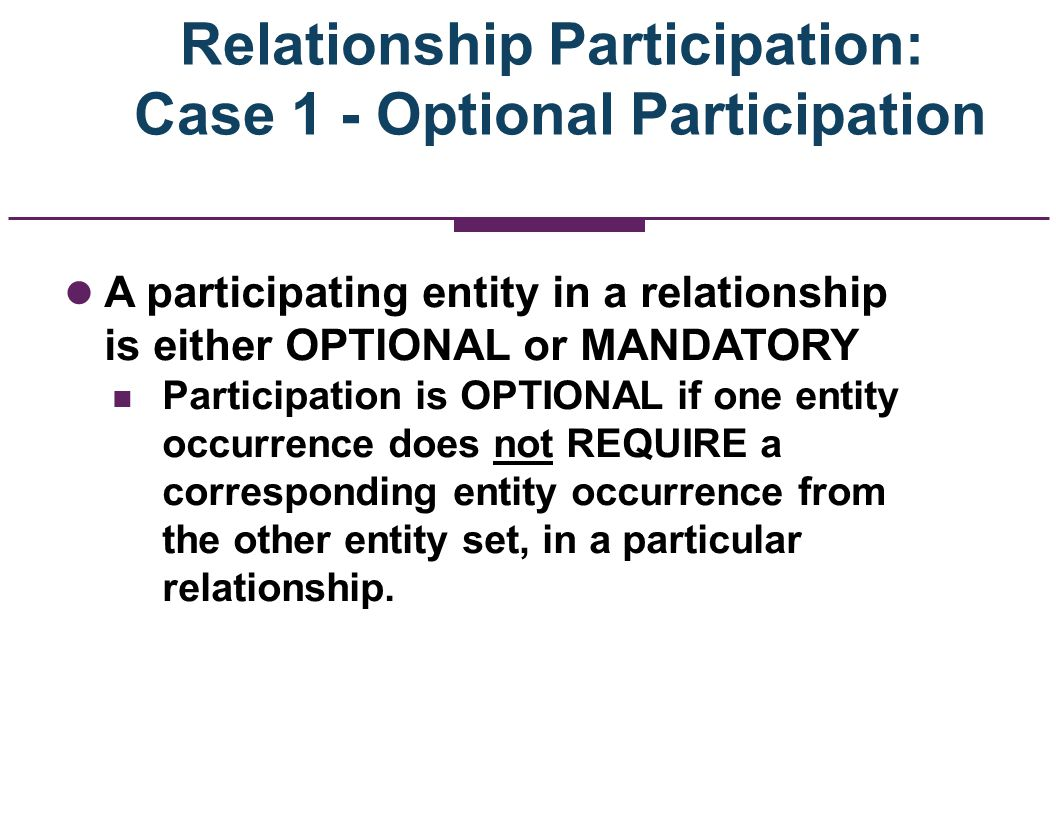 Relationship Participation: Case 1 - Optional Participation A participating entity in a relationship is either OPTIONAL or MANDATORY Participation is