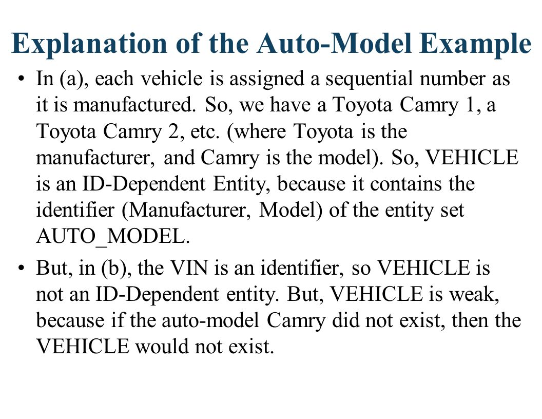 Explanation of the Auto-Model Example In (a), each vehicle is assigned a sequential number as it is manufactured. So, we have a Toyota Camry 1, a Toyo