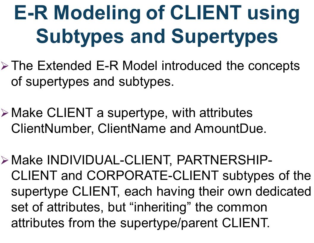 E-R Modeling of CLIENT using Subtypes and Supertypes The Extended E-R Model introduced the concepts of supertypes and subtypes. Make CLIENT a supertyp