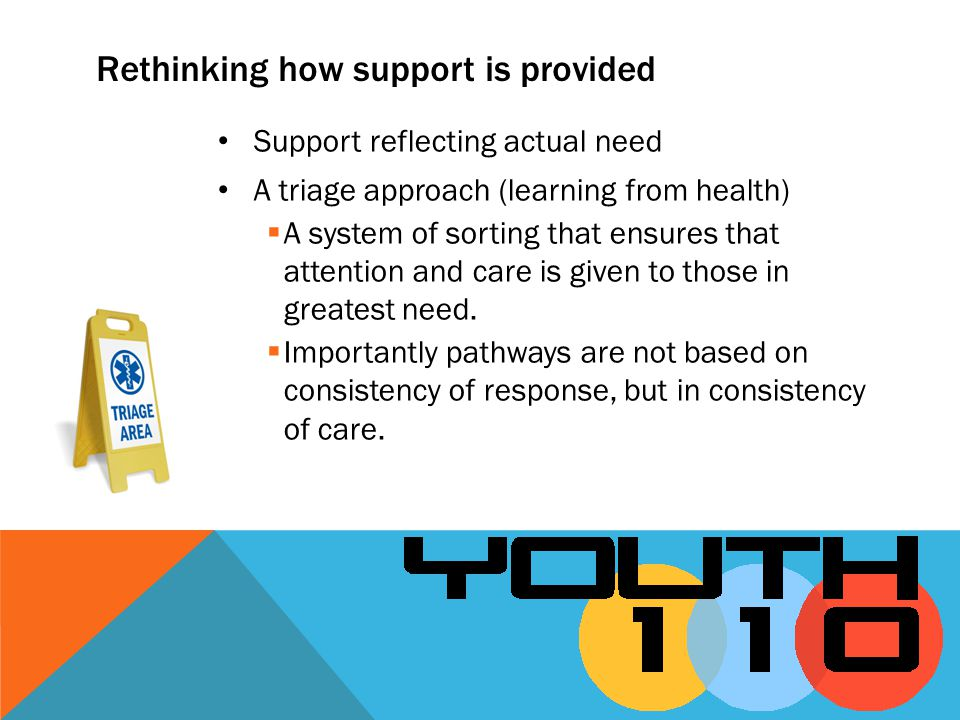 Support reflecting actual need A triage approach (learning from health) A system of sorting that ensures that attention and care is given to those in