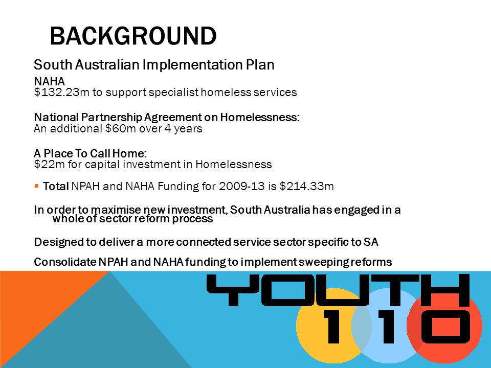 South Australian Implementation Plan NAHA $132.23m to support specialist homeless services National Partnership Agreement on Homelessness: An additional $60m over 4 years A Place To Call Home: $22m for capital investment in Homelessness Total NPAH and NAHA Funding for 2009-13 is $214.33m In order to maximise new investment, South Australia has engaged in a whole of sector reform process Designed to deliver a more connected service sector specific to SA Consolidate NPAH and NAHA funding to implement sweeping reforms BACKGROUND