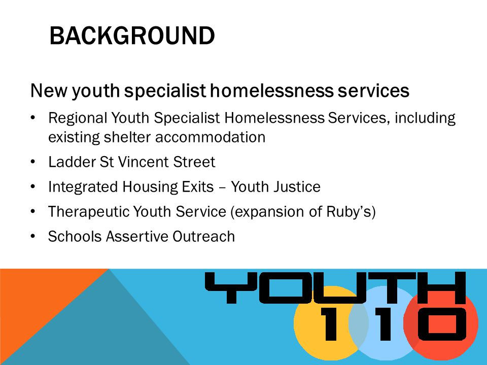 BACKGROUND New youth specialist homelessness services Regional Youth Specialist Homelessness Services, including existing shelter accommodation Ladder St Vincent Street Integrated Housing Exits – Youth Justice Therapeutic Youth Service (expansion of Rubys) Schools Assertive Outreach