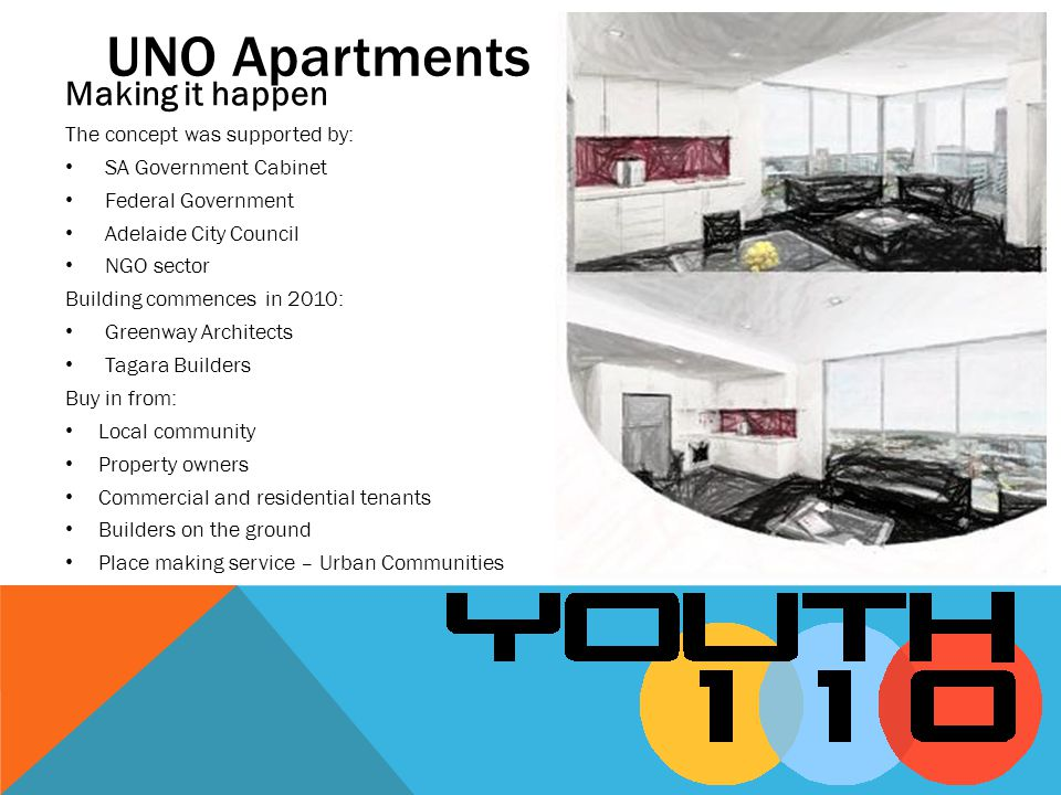UNO Apartments Making it happen The concept was supported by: SA Government Cabinet Federal Government Adelaide City Council NGO sector Building comme