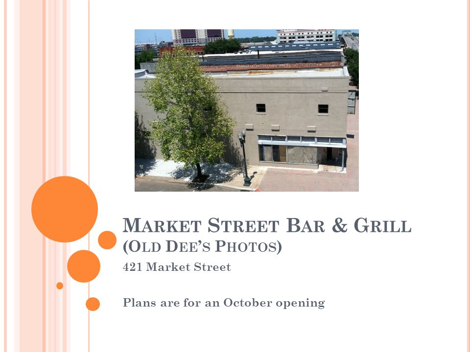 M ARKET S TREET B AR & G RILL (O LD D EE S P HOTOS ) 421 Market Street Plans are for an October opening