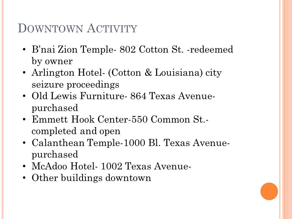 D OWNTOWN A CTIVITY Bnai Zion Temple- 802 Cotton St. -redeemed by owner Arlington Hotel- (Cotton & Louisiana) city seizure proceedings Old Lewis Furni