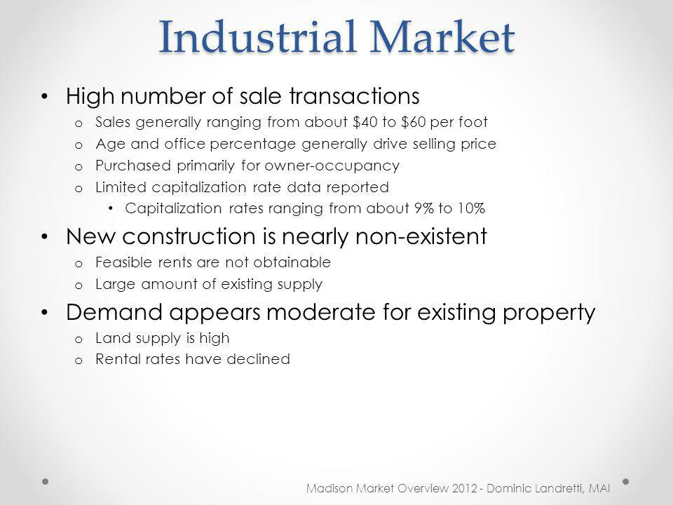 Industrial Market Madison Market Overview 2012 - Dominic Landretti, MAI High number of sale transactions o Sales generally ranging from about $40 to $60 per foot o Age and office percentage generally drive selling price o Purchased primarily for owner-occupancy o Limited capitalization rate data reported Capitalization rates ranging from about 9% to 10% New construction is nearly non-existent o Feasible rents are not obtainable o Large amount of existing supply Demand appears moderate for existing property o Land supply is high o Rental rates have declined