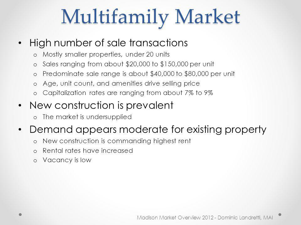 Multifamily Market Madison Market Overview 2012 - Dominic Landretti, MAI High number of sale transactions o Mostly smaller properties, under 20 units o Sales ranging from about $20,000 to $150,000 per unit o Predominate sale range is about $40,000 to $80,000 per unit o Age, unit count, and amenities drive selling price o Capitalization rates are ranging from about 7% to 9% New construction is prevalent o The market is undersupplied Demand appears moderate for existing property o New construction is commanding highest rent o Rental rates have increased o Vacancy is low