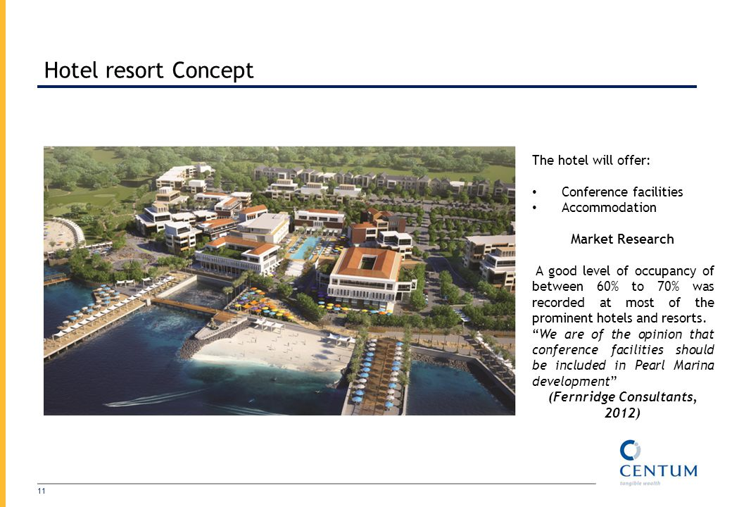 Hotel resort Concept 11 The hotel will offer: Conference facilities Accommodation Market Research A good level of occupancy of between 60% to 70% was recorded at most of the prominent hotels and resorts.