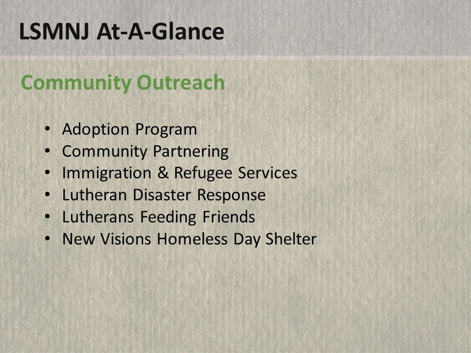 LSMNJ At-A-Glance Community Residential Services Lutheran Home for Children Luther Haven Piscataway Community Residence Project Home Sayreville Community Residence