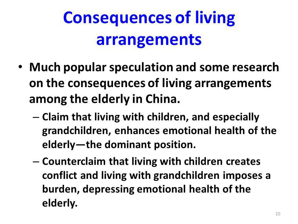 Consequences of living arrangements Much popular speculation and some research on the consequences of living arrangements among the elderly in China.