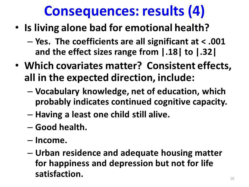 Consequences: results (4) Is living alone bad for emotional health.