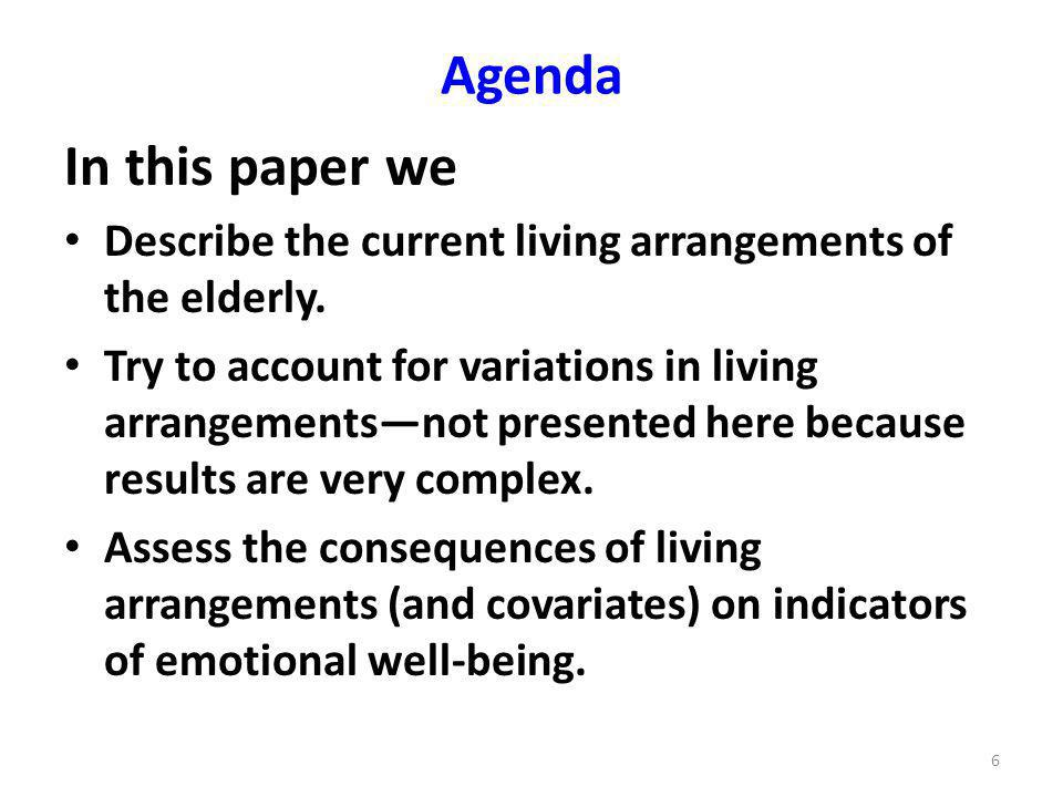 Agenda In this paper we Describe the current living arrangements of the elderly.