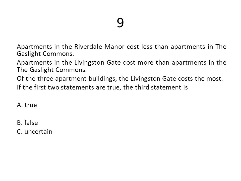 9 Apartments in the Riverdale Manor cost less than apartments in The Gaslight Commons. Apartments in the Livingston Gate cost more than apartments in