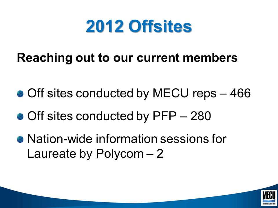 2012 Offsites Reaching out to our current members Off sites conducted by MECU reps – 466 Off sites conducted by PFP – 280 Nation-wide information sessions for Laureate by Polycom – 2