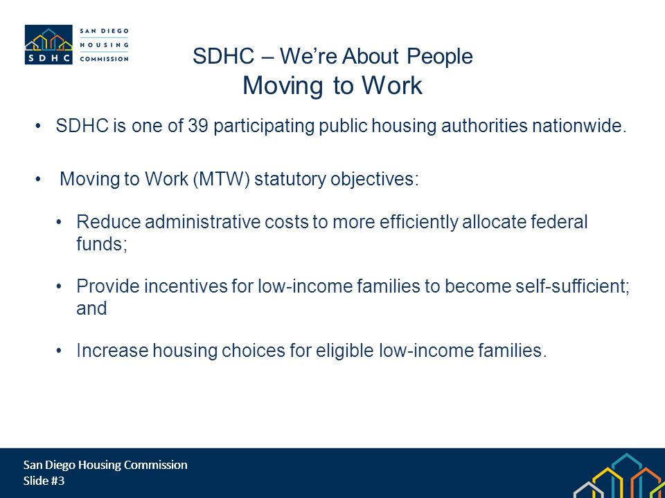 San Diego Housing Commission Slide # SDHC is one of 39 participating public housing authorities nationwide.