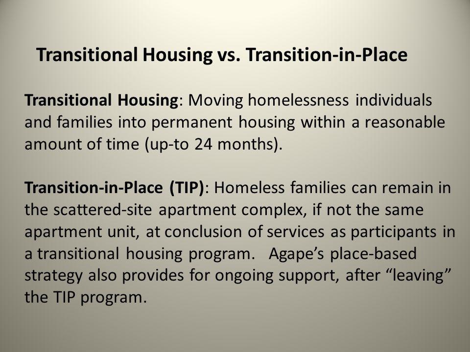 7 Year AveragePermanent Housing % 2003-201174% Transition-in-Place Model Permanent Housing % 2011-201290 % Traditional Transitional Housing Model