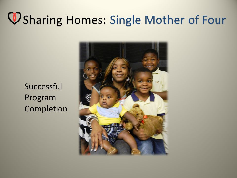 Sharing Homes: Grandmother with Custody of 5 Grandchildren Successful Program Completion