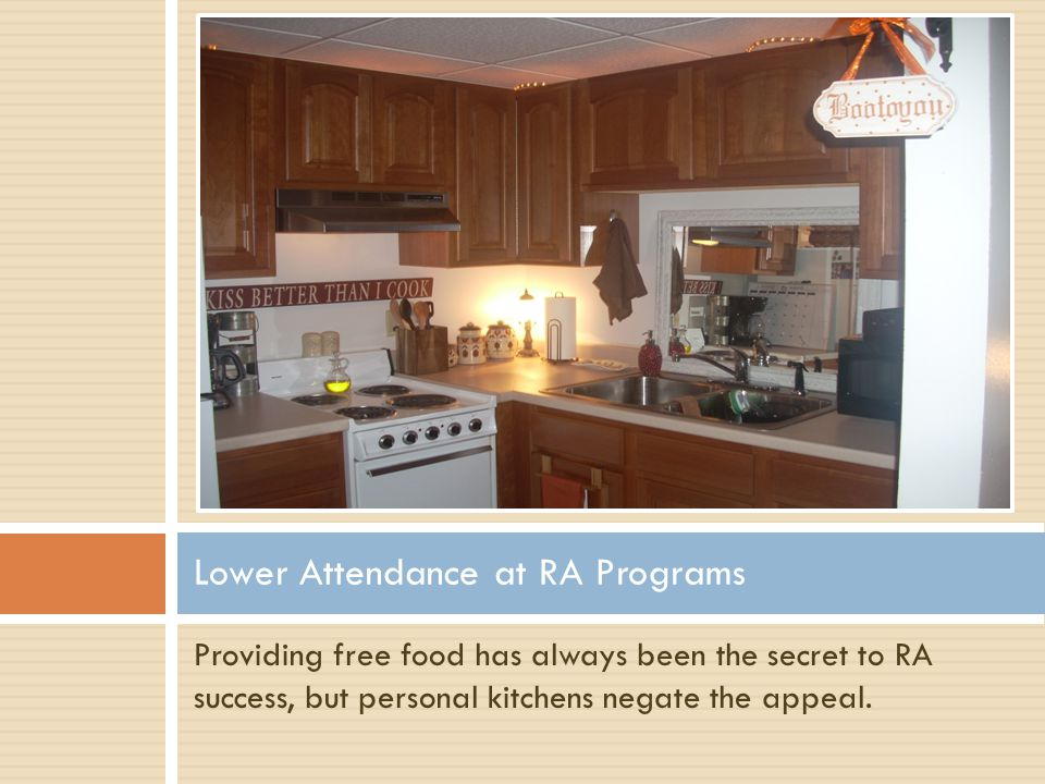 Providing free food has always been the secret to RA success, but personal kitchens negate the appeal. Lower Attendance at RA Programs